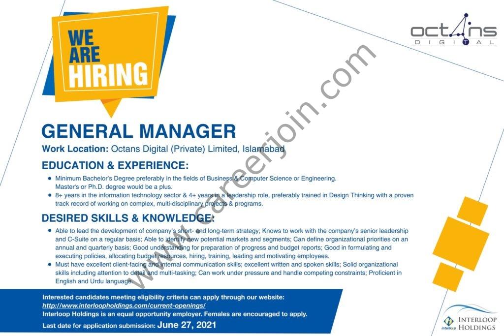 www.interloopholdings.com Jobs 2021 - Octans Digital Pvt Ltd Jobs 2021 in Pakistan