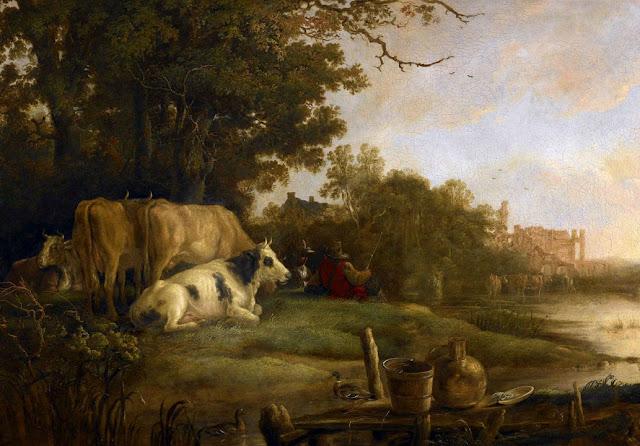 Альберт Кёйп - Пастухи с коровами на берегу реки на фоне аббатства Рейнсбург. ок1645