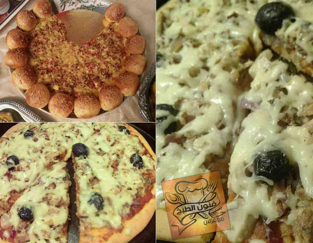 بيتزا,بيتزا بالطون,الطون,الشومبينيون,الفطر,بيزا,بيزا بالطون