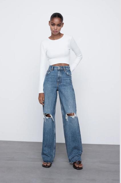 wide leg jeans rotos zara