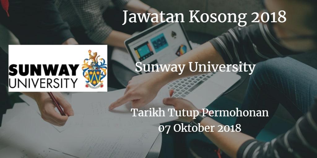 Jawatan Kosong Sunway University 07 Oktober 2018