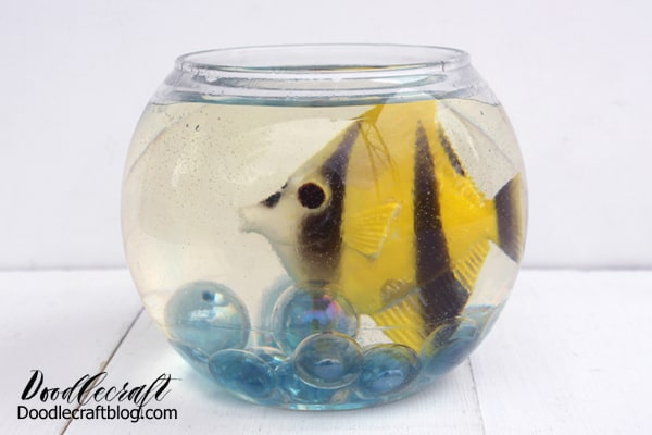 This cute fish bowl is easy to make and uses EasyCast resin which works best cured in layers about 1/4-1/2 inch thick. Then repeated to fill it completely...don't fill it with resin completely with the first pour.