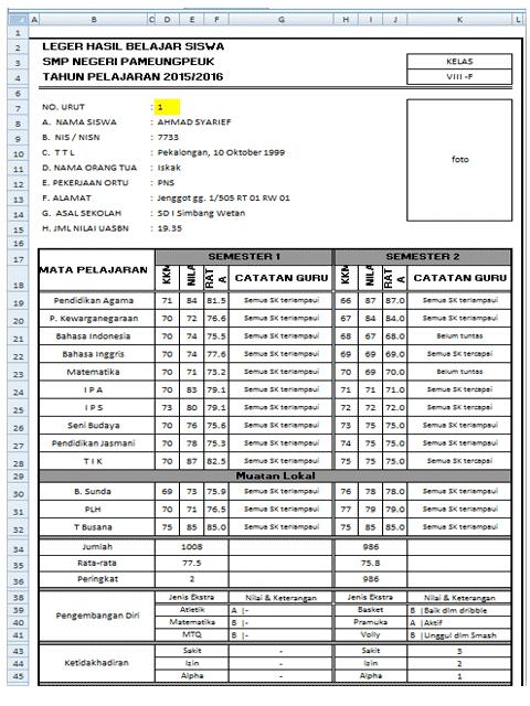 Tampilan Aplikasi leger Wali kelas Format Excel