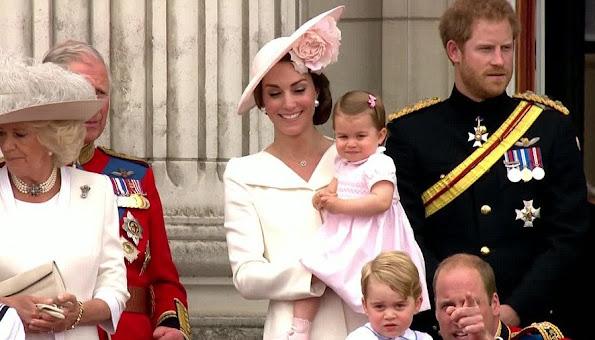 Elizabeth, Prince Philip, Duke of Edinburgh, Camilla, Duchess of Cornwall, Catherine, Duchess of Cambridge, Prince William, Prince George, Princess Charlotte, Prince Harry