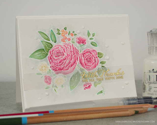 This pretty card features the Beautiful Bouquet - Ranunculus stamp set from WPlus9.  The image was watercolored using Fun Stampers Journey Color Splash pencils.