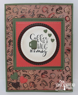 Stamp/Die Duos: Hug In A Mug, Custom Dies:  Lever Card, Lever Card Layers, Double Stitched Squares, Double Stitched Circles, Umbrellas, Stitched Mini Hearts, Paper Collection: Latte Love