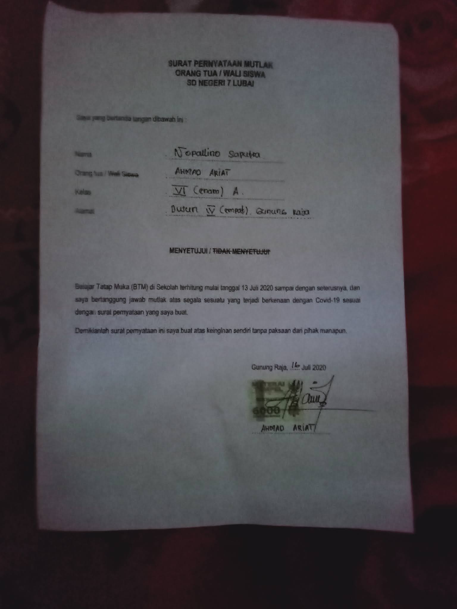 Contoh Surat Pernyataan Orang Tua Untuk Belajar Tatap Muka Contoh Lif Co Id