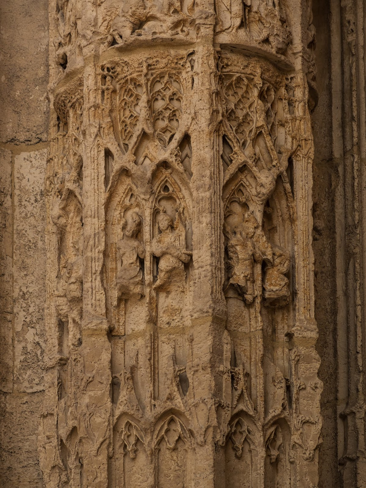 Wear and tear in the detail of the walls in Rouen's Cathedral in Northern France.