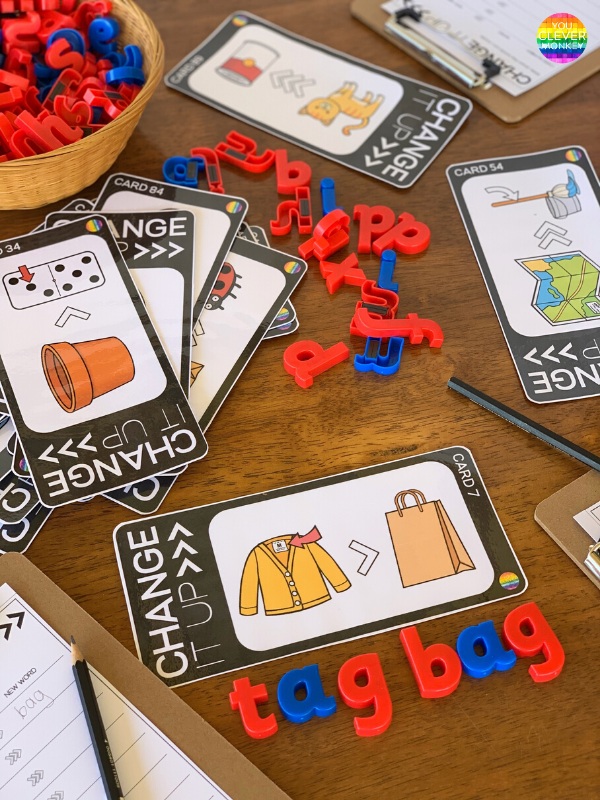 CVC Word Work Cards - help build phonemic awareness skills with these CVC word cards that concentrate on phoneme manipulation. Children can work through the three different sets of cards - practicing deleting and substituting initial, middle and final sounds to make new CVC words. Ideal for Kindergarten and First Grade literacy centers! #kindergartenliteracycenters #cvcwords #firstgradeliteracycenters #phonemicawareness