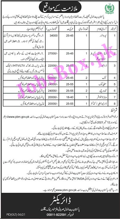 Pakistan Bait ul Mal Jobs 2021 – PBM Jobs in KPK & Gilgit