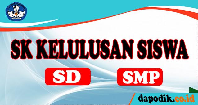 Contoh Surat Keputusan (SK) dan Berita Acara Kelulusan Peserta Didik SD, dan SMP Kelas VI, dan  IX
