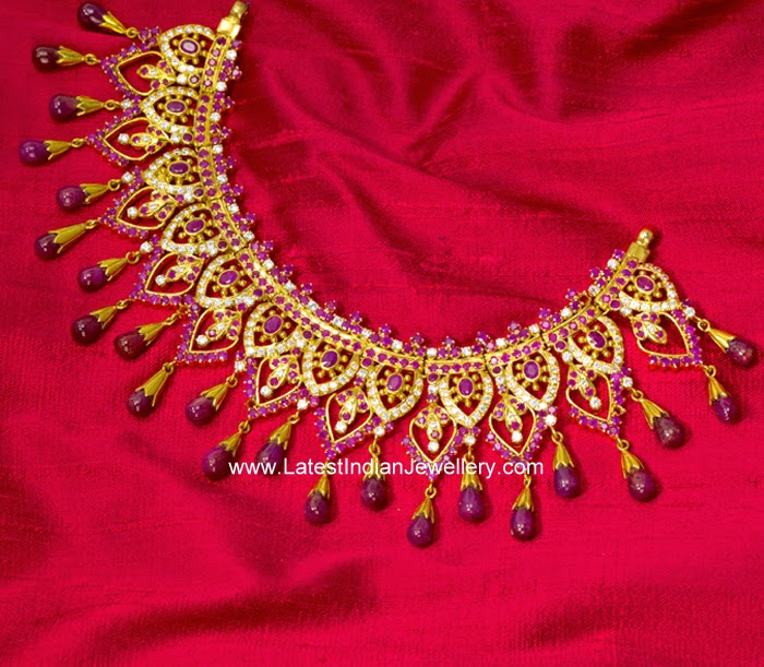 CZ Ruby Bridal Heavy Necklace