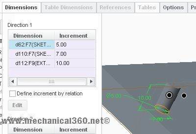 Dimension pattern in creo elements4