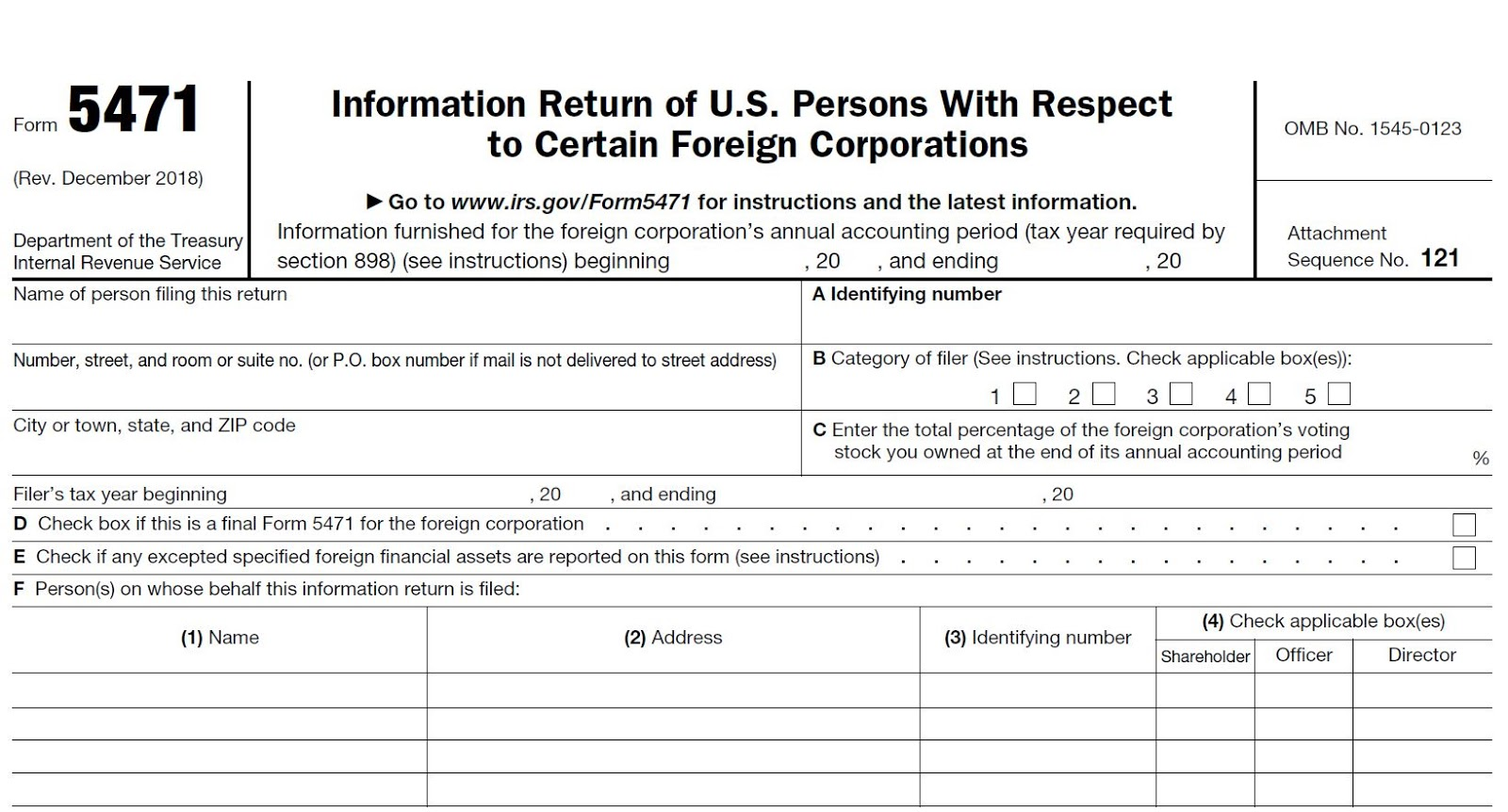 The Tax Times: IRS Issues Updated New Form 5471 – What's New?