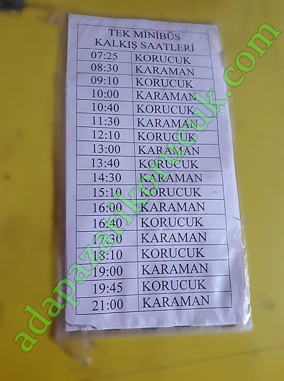 Karaman - Camili - Korucuk Minibüs Dolmuş Saatleri