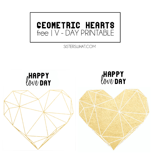 Geometric heart valentine, free printable and silhouette file