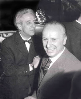 Mario Pavesi (left), with the architect Angelo Bianchetti, who designed many of the Autogrills