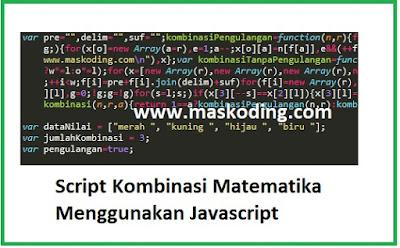 Script Kombinasi Matematika Menggunakan Javascript