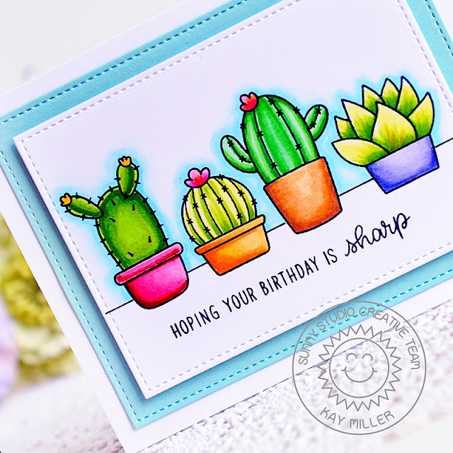 Sunny Studio Stamps: Stitched Rectangle Dies Looking Sharp Birthday Card by Kay Miller