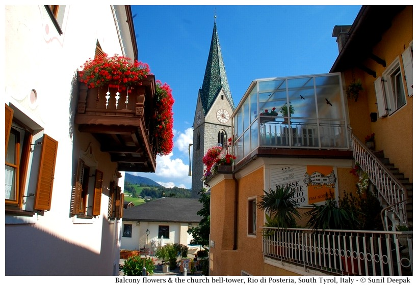 City centre and the church bell tower, Rio di Pusteria, South Tyrol, Italy - Images by Sunil Deepak