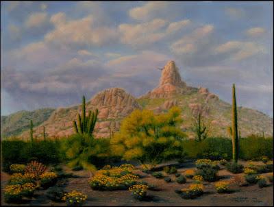 Pinnacle Peak,AZ,Arizona,southwest,western,desert,Sonoran,saguaro,cactus,hill,mountain,spring,flowers,brittlebush,Encelia,hawk,rabbit,cottontail,bunny.bunnies,palo verde,tree,clouds,rain,raining,rainy,hike,hiking