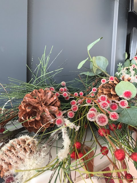 decorating with pine cones berries