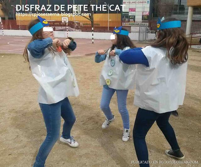 Disfraz de Pete The Cat con bolsa de basura