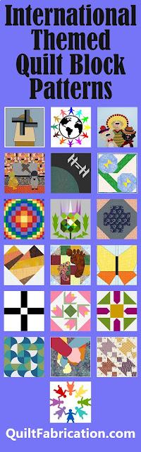 nineteen different international themed quilt blocks
