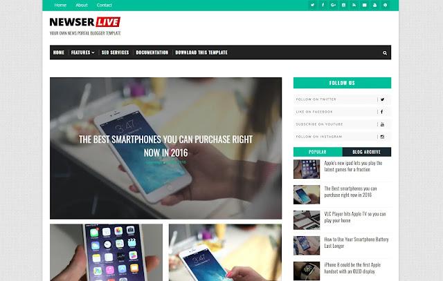Newser Responsive Magazine Personal Blog News Site Tutorial Tips and Tricks Blogger Template Theme