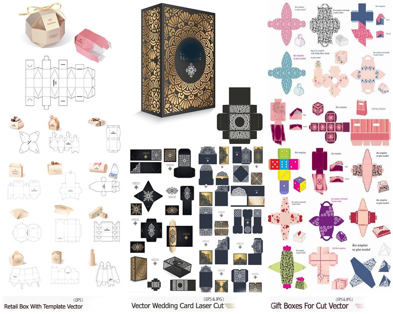 تصميمات ومختطات علب هدايا وعلب منتاجات جاهزة للطباعة والتقطيع