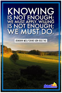 Knowing is not enough; we must apply. Willing is not enough; we must do.  Johann Wolfgang Von Goethe