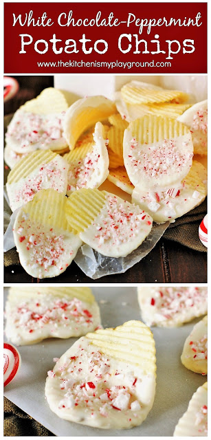 White Chocolate Peppermint Potato Chips ~ A perfect quick & easy last-minute Christmas treat! These little beauties are AMAZINGly delicious.  www.thekitchenismyplayground.com