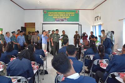 TMMD Kodim 0319/Mentawai Berikan Wasbang Kepada Salah Satu Perguruan Tinggi Di Mentawai