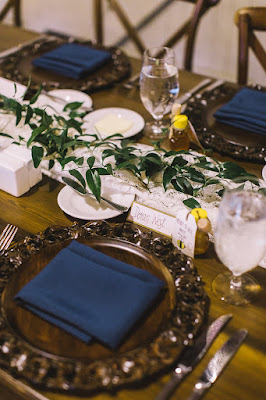 navy rustic wedding table setting