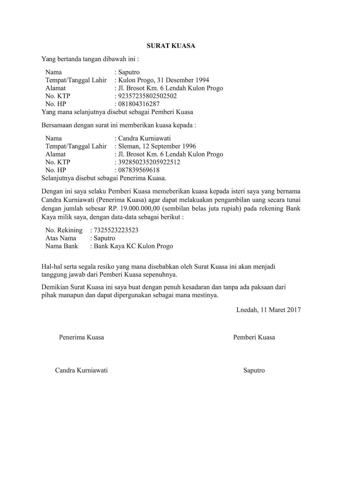contoh surat kuasa bank