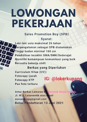 Lowongan Kerja Waroenk Resto Oebufu Sebagai Sales Promotion Boy (SPB)