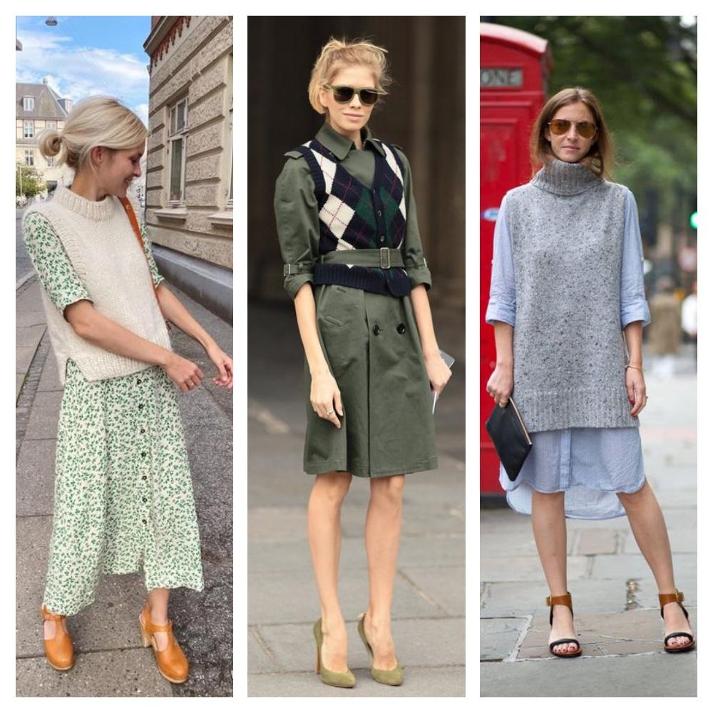 colete de tricô com vestido