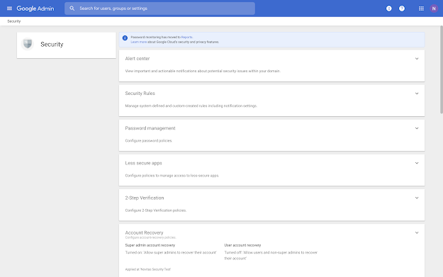 Updates to G Suite Admin Console Security Settings Section 🔔 3