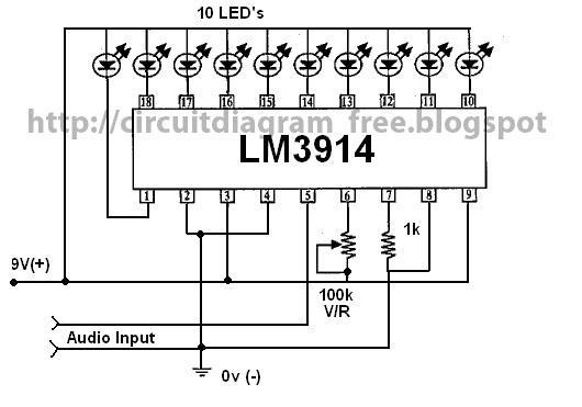 Electronic Circuit Diagrams: LM3914 VU Meter