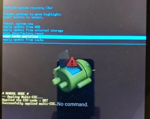 إصلاح بيانات الجوال لا يعمل قسم مسح ذاكرة التخزين المؤقت لنظام Android