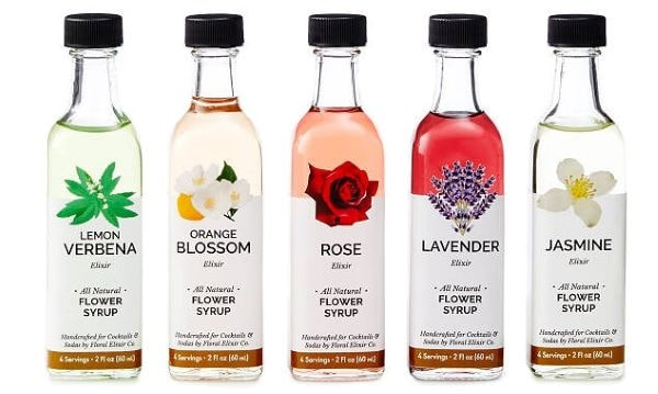 flower flavored elixirs for tea or champagne