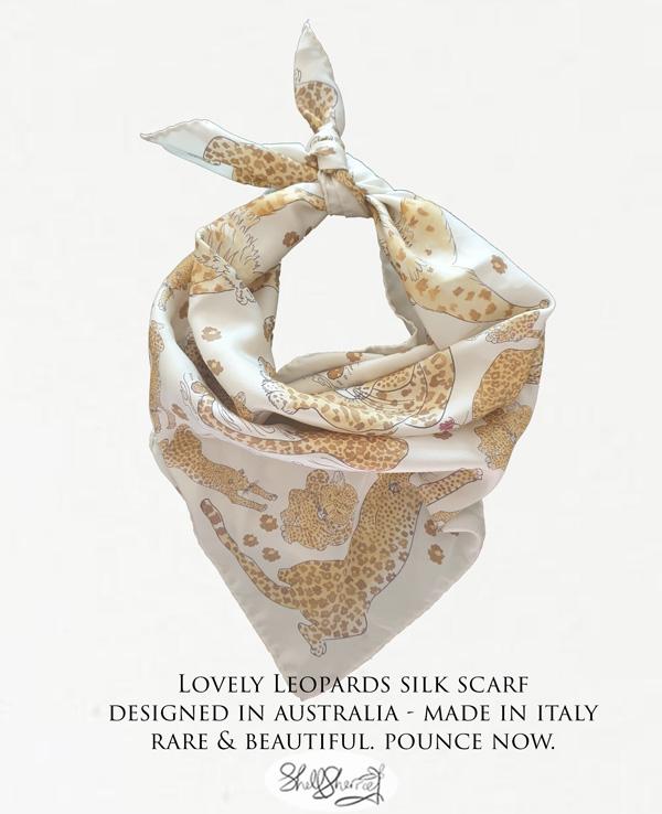 Lovely Leopards Italian Silk Scarf by Shell Sherree