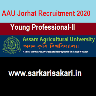 AAU Jorhat Recruitment 2020 -Young Professional-II