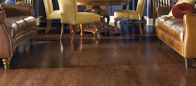 Beautiful medium brown hardwood flooring with a distinctive grain pattern