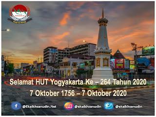 Selamat HUT Yogyakarta Ke - 264 Tahun 2020