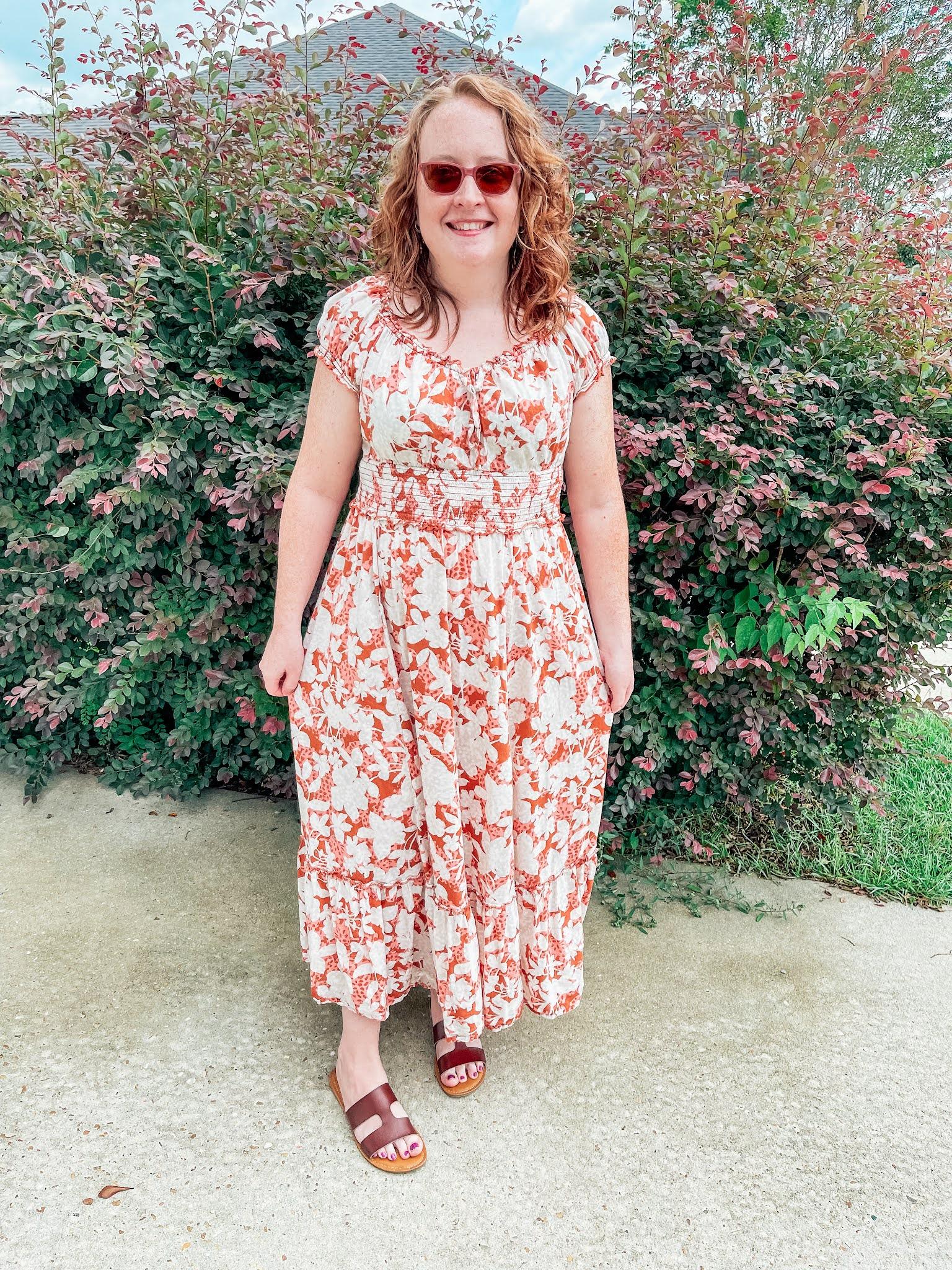brown-floral-empire-waist-dress