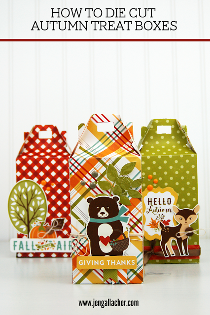 How to Die Cut Autumn Treat Boxes with www.jengallacher.com. #papercraft #autumncraft #fallcraft #treatbox
