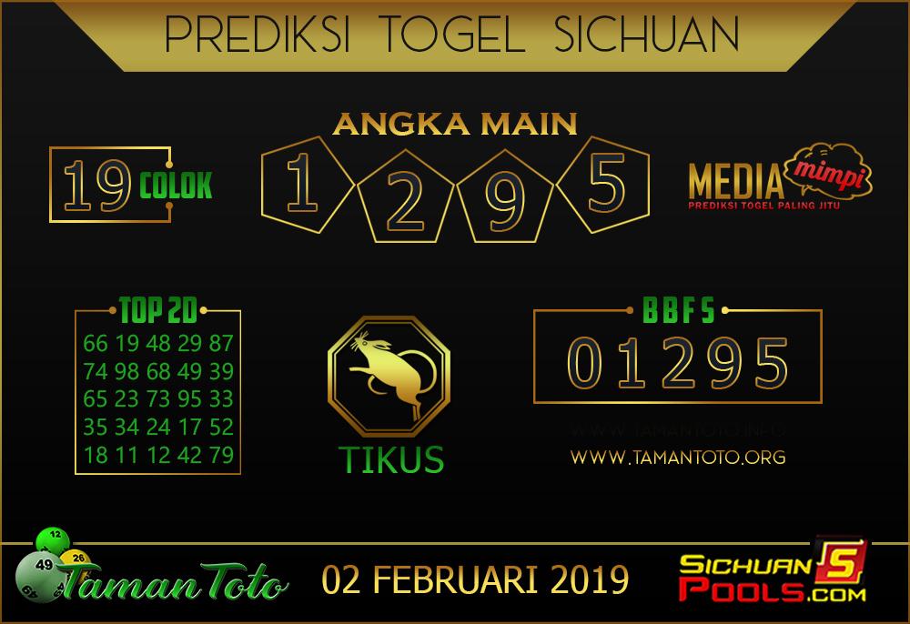 Prediksi Togel SICHUAN TAMAN TOTO 02 FEBRUARI 2019