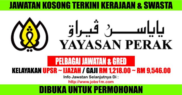 Jawatan Kosong Terkini di Yayasan Perak - 21 April 2017