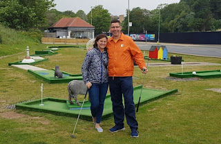 Emily and Richard Gottfried at the North Bay Crazy Golf course in Scarborough